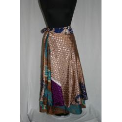 Reversible wrap silk skirts