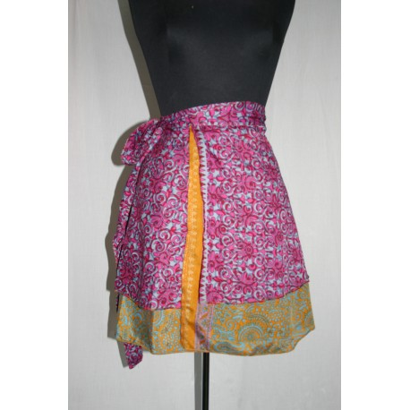 Reversible wrap silk skirts